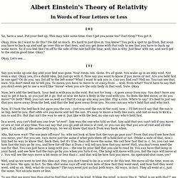 Short Words to Explain Relativity