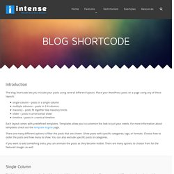 Blog Shortcode - Intense WordPress Plugin