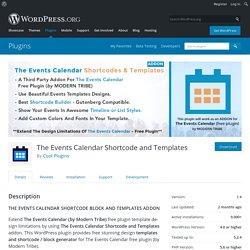 The Events Calendar Shortcode and Templates – WordPress plugin