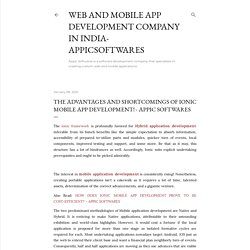 The advantages and shortcomings of Ionic Mobile App Development! - Appic Softwares