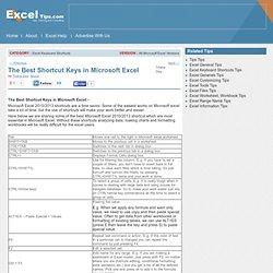 The Best Shortcut Keys in Microsoft Excel