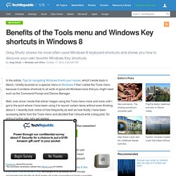 Benefits of the Tools menu and Windows Key shortcuts in Windows 8