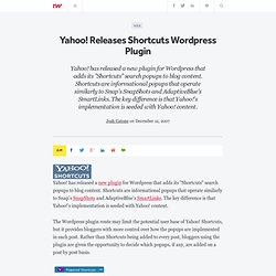 Yahoo! Releases Shortcuts Wordpress Plugin