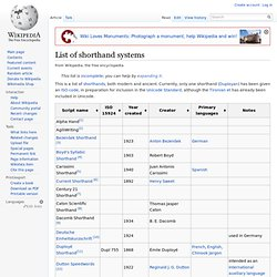 List of shorthand systems