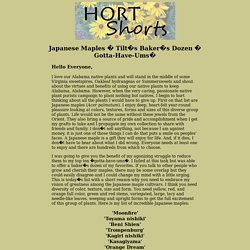 Hort Shorts: Japanese Maples - Tilt's Baker's Dozen<sup>1</sup>