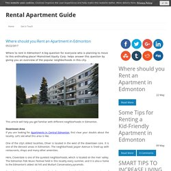 Where should you Rent an Apartment in Edmonton