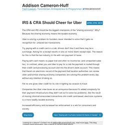 """IRS & CRA Should Cheer for Uber"" by Addison Cameron-Huff"
