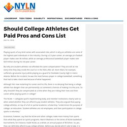 Should College Athletes Get Paid Pros and Cons List