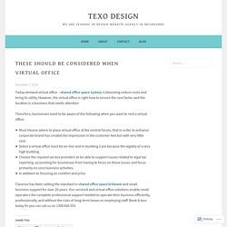 These should be considered when virtual office – texo design