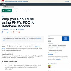 Why you Should be using PHP's PDO for Database Access - Tuts+ Code Tutorial
