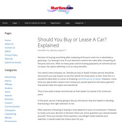 Should You Buy or Lease A Car? Explained - shortkro