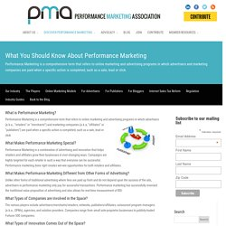 What You Should Know About Performance Marketing