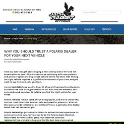 Why You Should Trust a Polaris Dealer for Your Next Vehicle
