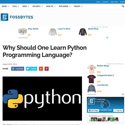 Why Should One Learn Python Programming Language?