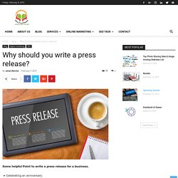 Why should you write a press release? - SSEDUCATIONLAB