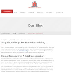 Why Should I Opt For Home Remodeling?