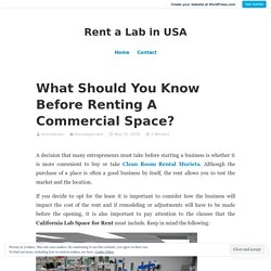 What Should You Know Before Renting A Commercial Space?