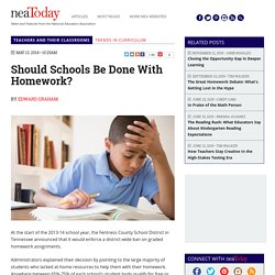 Should Schools Be Done With Homework?