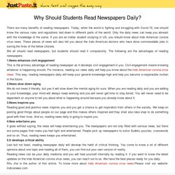 Why Should Students Read Newspapers Daily?