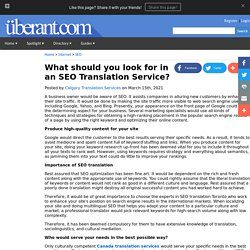 What should you look for in an SEO Translation Service?