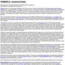 SHRDLU resurrection