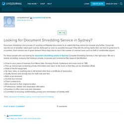 Looking for Document Shredding Service in Sydney?