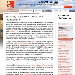 ENS LYON Shrinking cities Définition