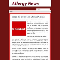 Siblings May Not Share the Same Food Allergies - Allergy News