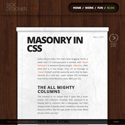 Masonry CSS or Getting awesome with CSS3