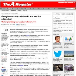 Google turns off sidelined Labs section altogether