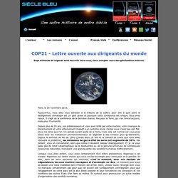 Siècle bleu - COP21 - Lettre ouverte aux dirigeants du monde