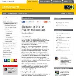 Siemens in line for R961m rail contract