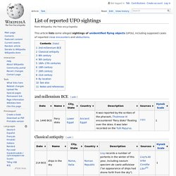 List of UFO sightings