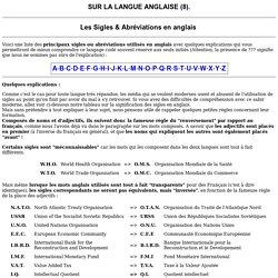 Les sigles et abréviations en anglais