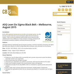 CBIS - Lean Six Sigma Black Belt Training Course
