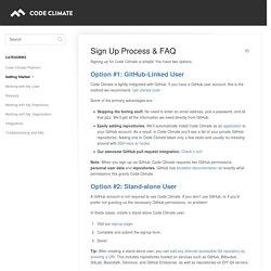 Sign Up Process & FAQ - Code Climate Docs