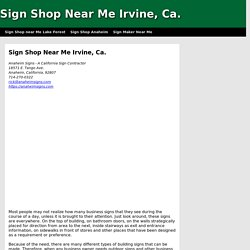 Sign Shop Irvine Ca.