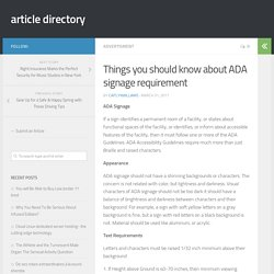 Things you should know about ADA signage requirement – article directory