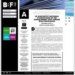 Le dispositif national d'archivage et de signalement des thèses électroniques