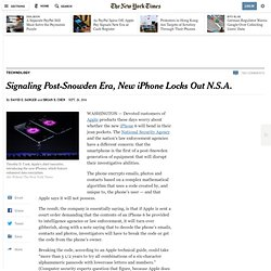 Signaling Post-Snowden Era, New iPhone Locks Out N.S.A.