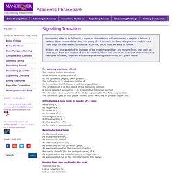 ademic Phrasebank – Signalling Transition
