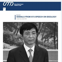 Signals From Xi's Speech on Ideology