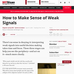 How to Make Sense of Weak Signals