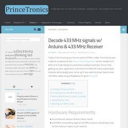 Decode 433 MHz signals w/ Arduino & 433 MHz Receiver