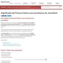 Significado del Poema Cultivo una rosa blanca de José Martí - Qué significa el, Concepto y Definición