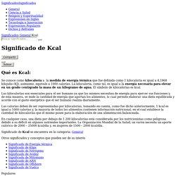 Significado de Kcal