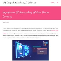 Significance Of Approaching Website Design Company