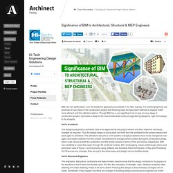 Significance of BIM to Architectural, Structural & MEP Engineers