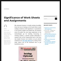Significance of Work Sheets and Assignments - Botany Optional Books