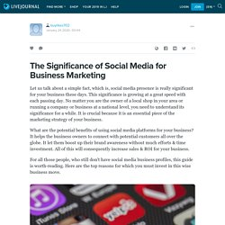 The Significance of Social Media for Business Marketing: buylikes702 — LiveJournal